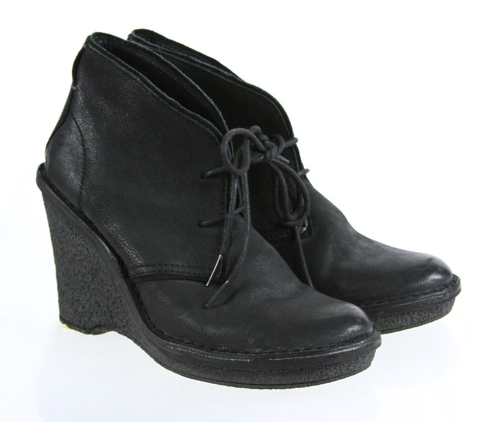Bussola 1978 Brand Solid Black Lace Up 4 Inch Wedge Bootie 7.5 #Bussola #PlatformsWedges #Casual