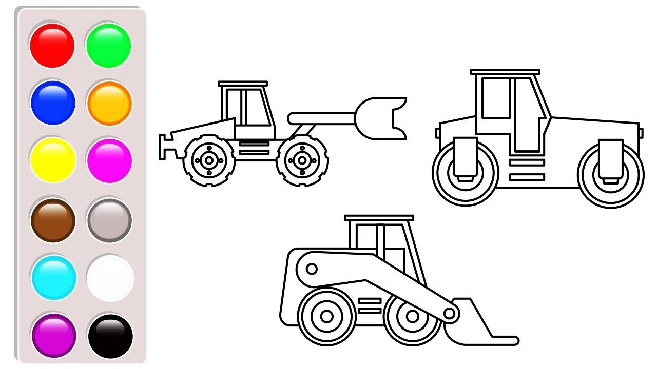 Excavator Bulldozer Colouring Pages Construction Truck Book