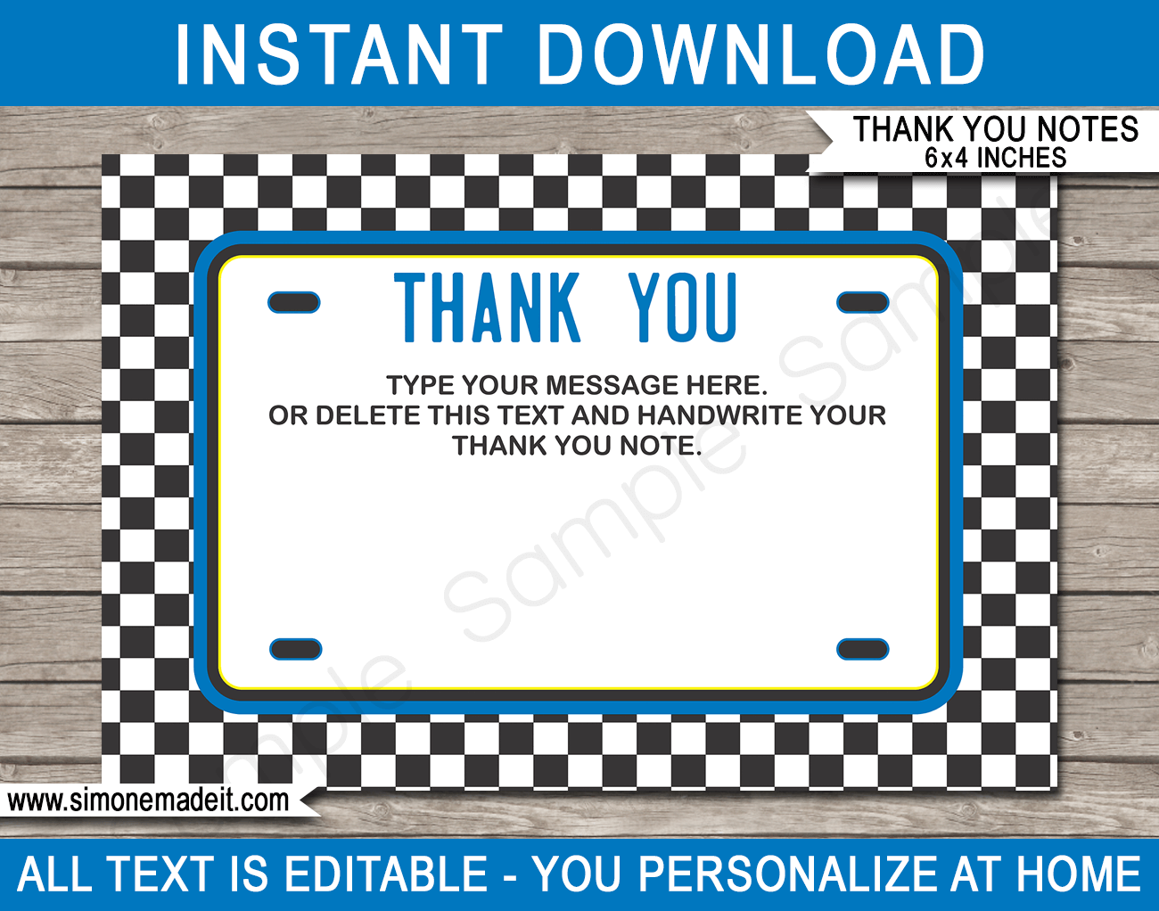 Race Car Birthday Thank You Cards Template Blue Birthday Thank You Cards Race Car Birthday Birthday Thank You