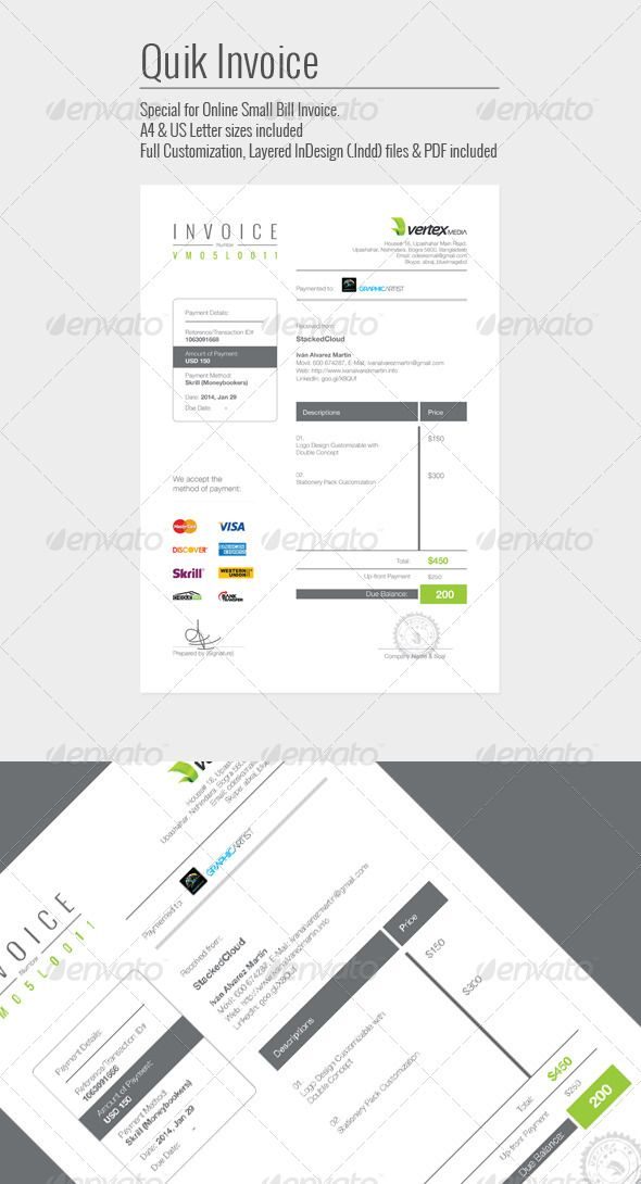 Quik Invoice By Graphicartist Professional Quik Invoice Indesign