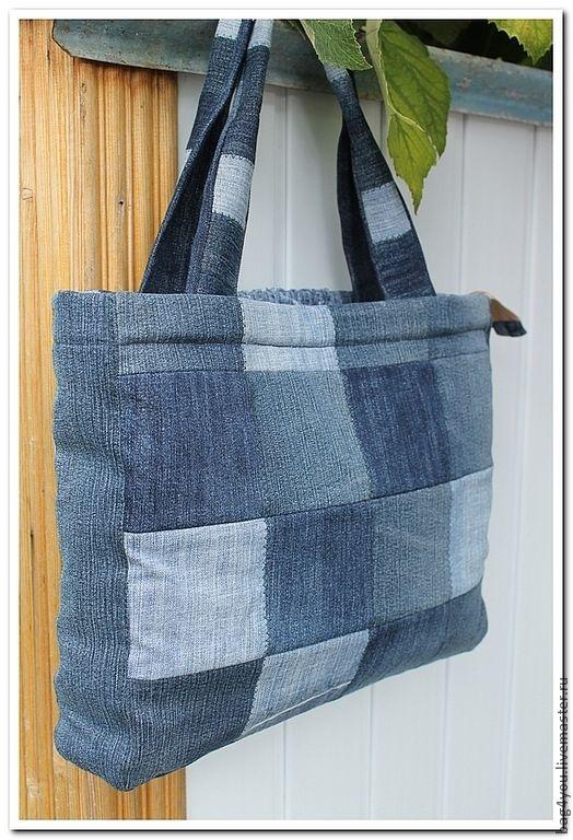 d6f9ed66eeaf Купить Сумка из лоскутков - джинсовая сумка, джинс, лоскутное шитье,  пэчворк…