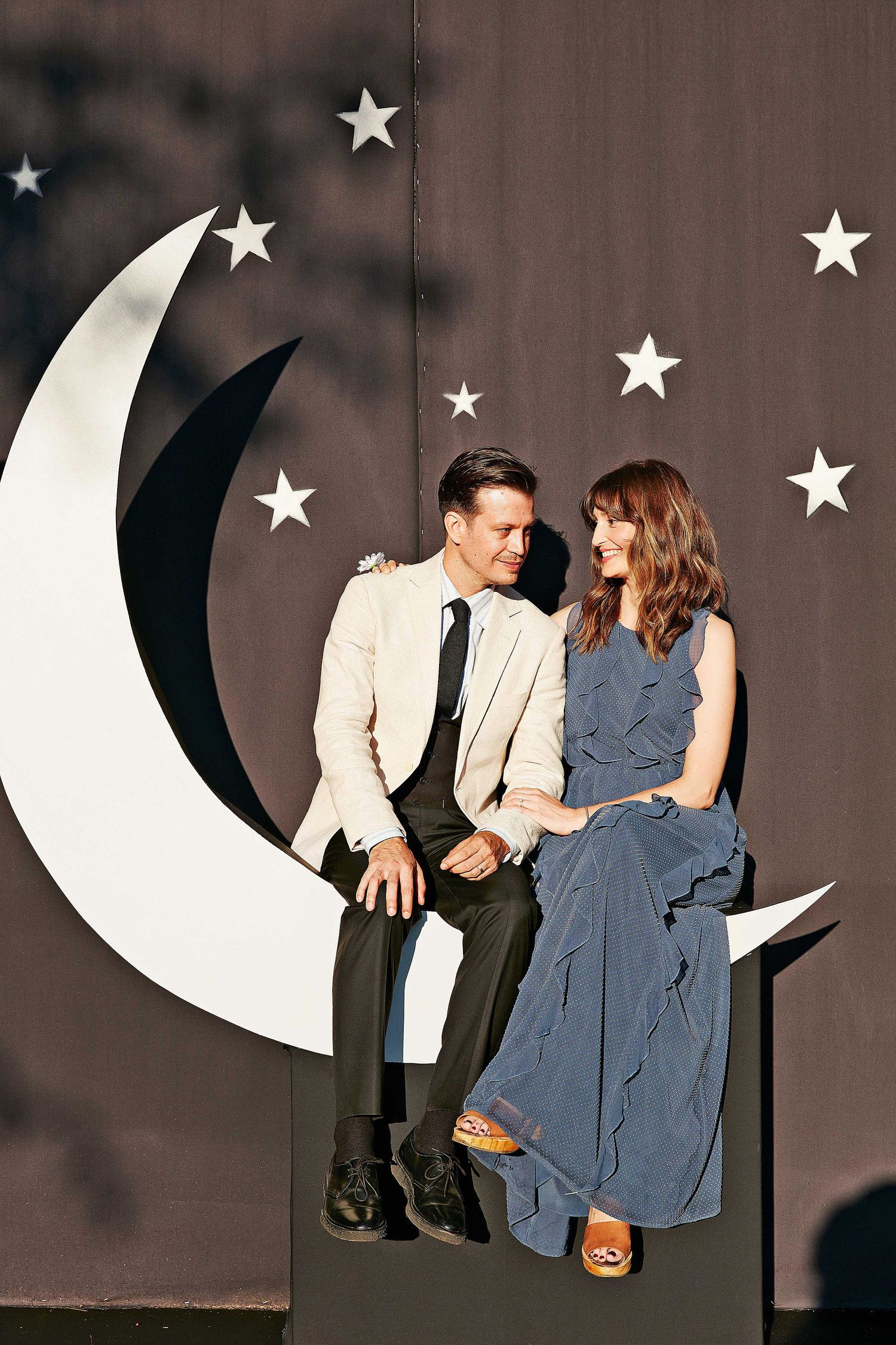 The Photo Booth With Its Oversize Crescent Moon And Backdrop Of Stars Was Built Painted By Their Friends
