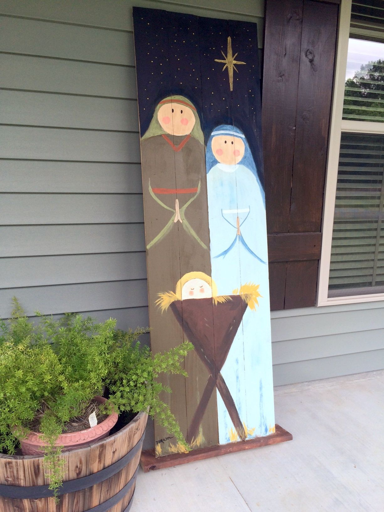 My Diy Hand Painted Life Size Outdoor Nativity Scene Christmas Wood Christmas Crafts Christmas Deco