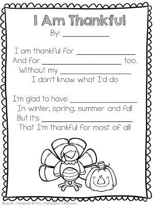 Free Thankful Poem Template Classroom Freebies Thanksgiving Poems Thankful Poems Thanksgiving Writing Fill in blank poetry worksheets