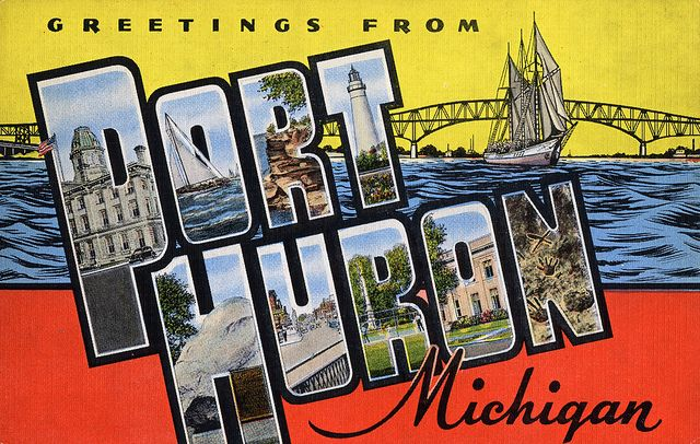 Greetings From Port Huron Michigan Large Letter Postcard Huron Port Huron Michigan Port Huron