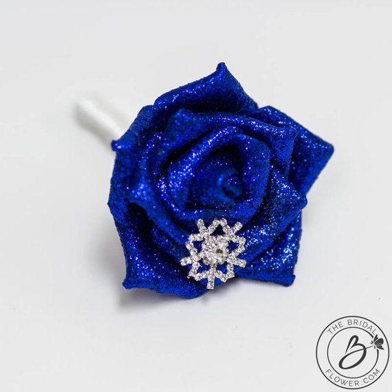 Cork Boutonniere: Royal Blue Winter Themed Boutonniere For Wedding Or Prom