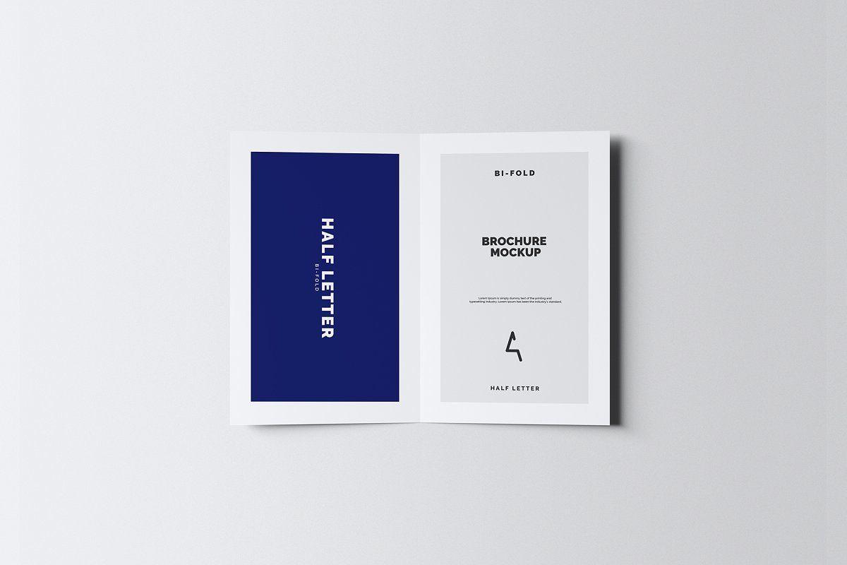 Half Letter Bi Fold Brochure Mockup Bi Fold Brochure Lettering Brochure