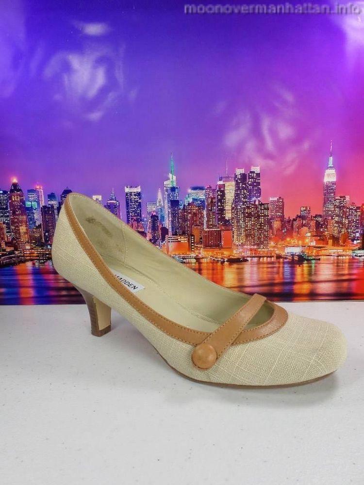 Womens shoes STEVE MADDEN Vyceroy beige linen MaryJane career heel pump sz 7.5 M