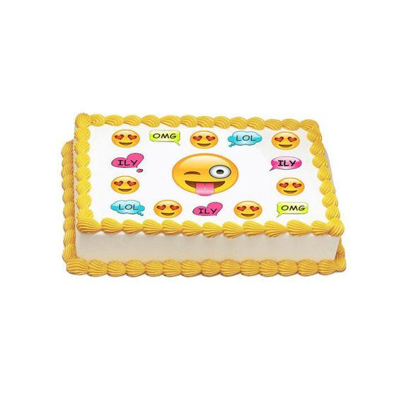 Edible Emoji Party Icing Sheet By TlcEdibles On Etsy Torta Cake Birthday