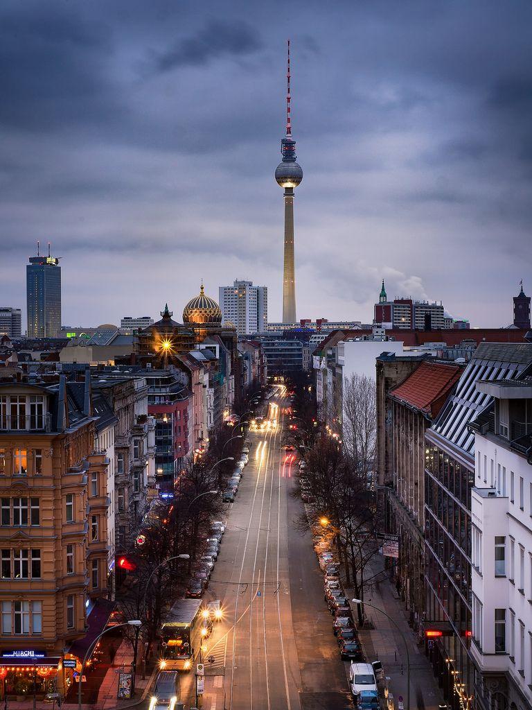 ღღ Berlin Mitte Germany Oranienburger Strasse In Der Dammerung Oburger Street At Twilight Berlin Germany Berlin Photography Berlin Travel