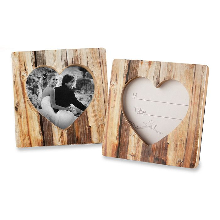Faux-Wood Heart Place Card/Photo Frame - place cards