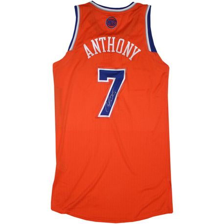 free shipping 923aa 9d7e8 Carmelo Anthony Autographed Orange Knicks Game Model Jersey ...
