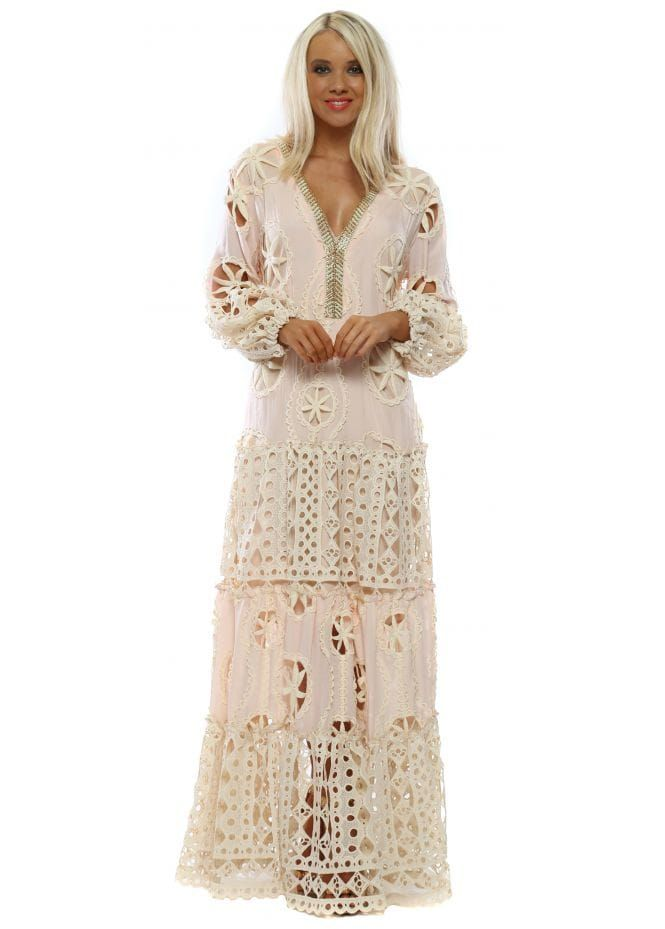 5eb97d469db2 LAURIE & JOE Pink Crochet Lace Maxi Dress | Laurie & Joe in 2019 ...