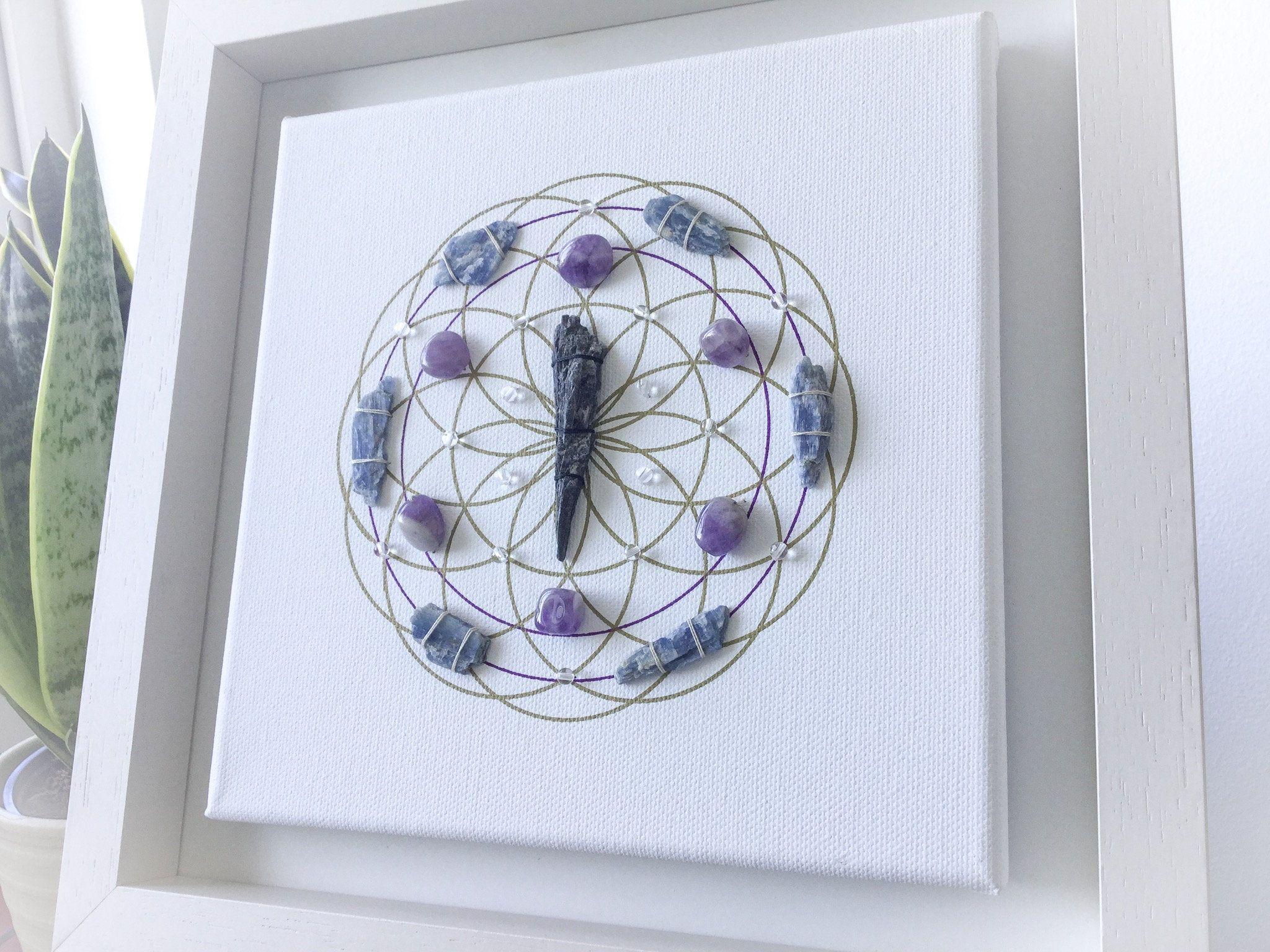 Reiki Grid Reiki Wall Art A Framed Crystal Grid Crystal Grid
