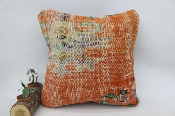 Orange Floor Bench Turkey Organic 18x18 Rug Pillow Cover SP4545 6340