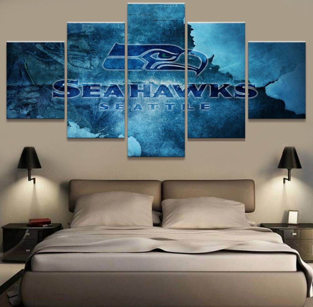 5 Panel Canvas Print Seattle Seahawks Rugby Wall Pictures For Living ...