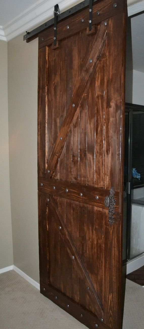 Rustic Barn Door With Metal Accents On Etsy 400 00 Rustic Barn Door Barn Door Door Design