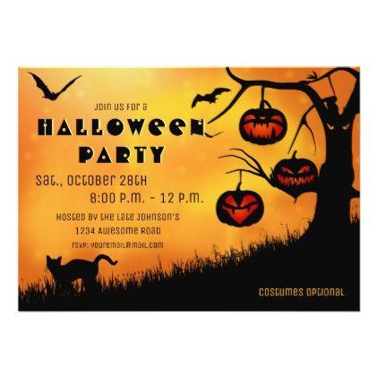 #Halloween Jack 'o lantern Tree Invitation - #Halloween happy halloween #festival #party #holiday