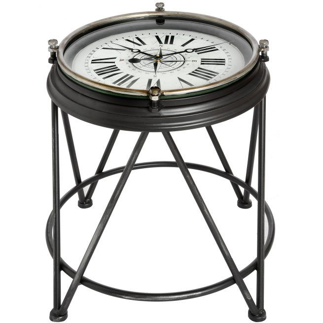 Charmant Compass Clock Side Table