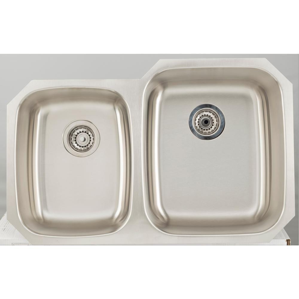 Undermount Stainless Steel 32 In 25 75 Double Bowl Kitchen Sink