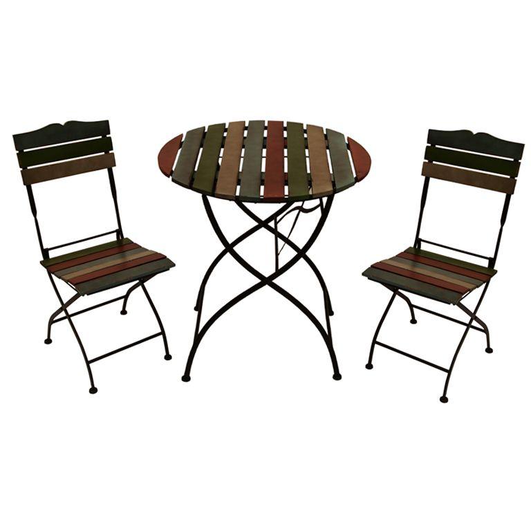 Conjunto mesa 2 sillas forja madera no disponible en - Sillas madera jardin ...