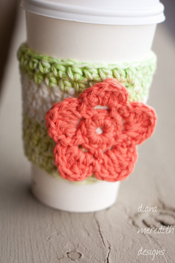 Crochet Coffee Cozy - Mint and White with Coral Flower. $10.00, via ...