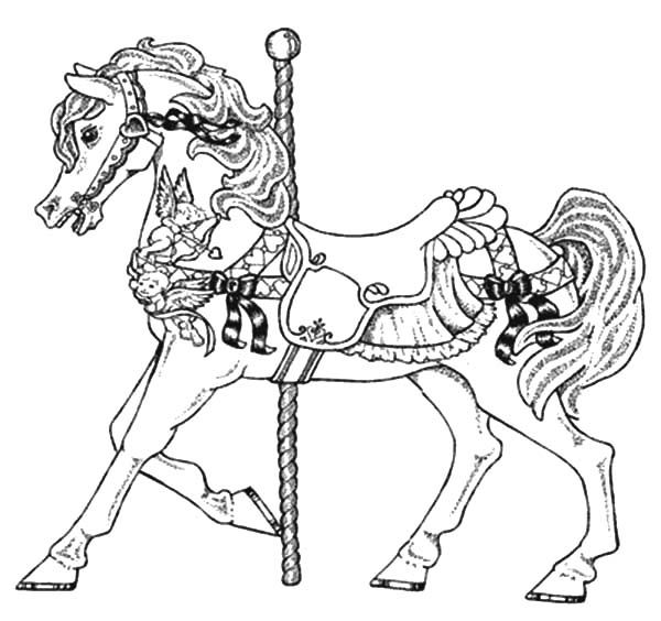Carousel Horse Carnival Coloring Pages Jpg 600 564 Horse