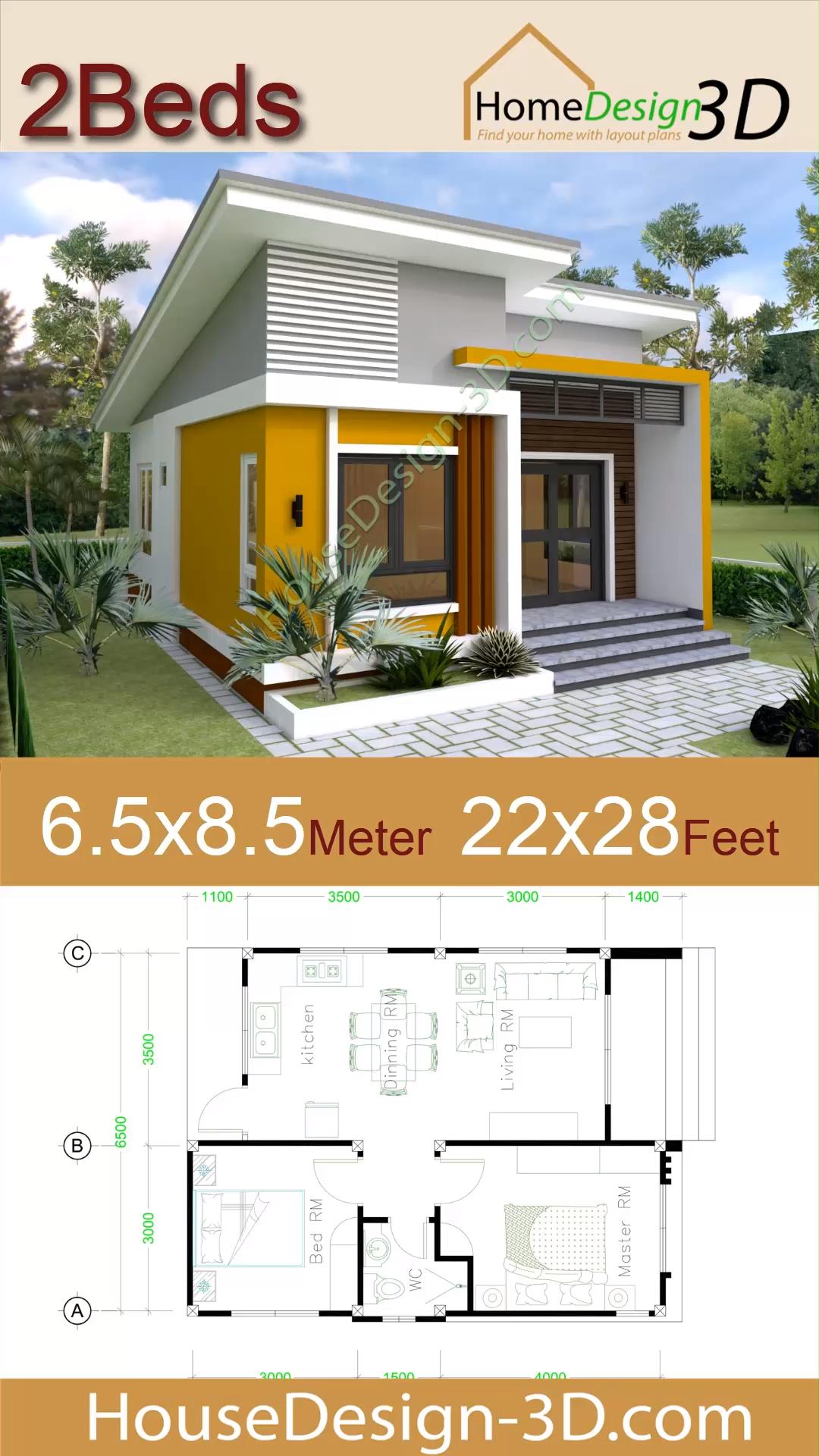 Small House Design 6.5×8.5 meter 22×28 Feet – House