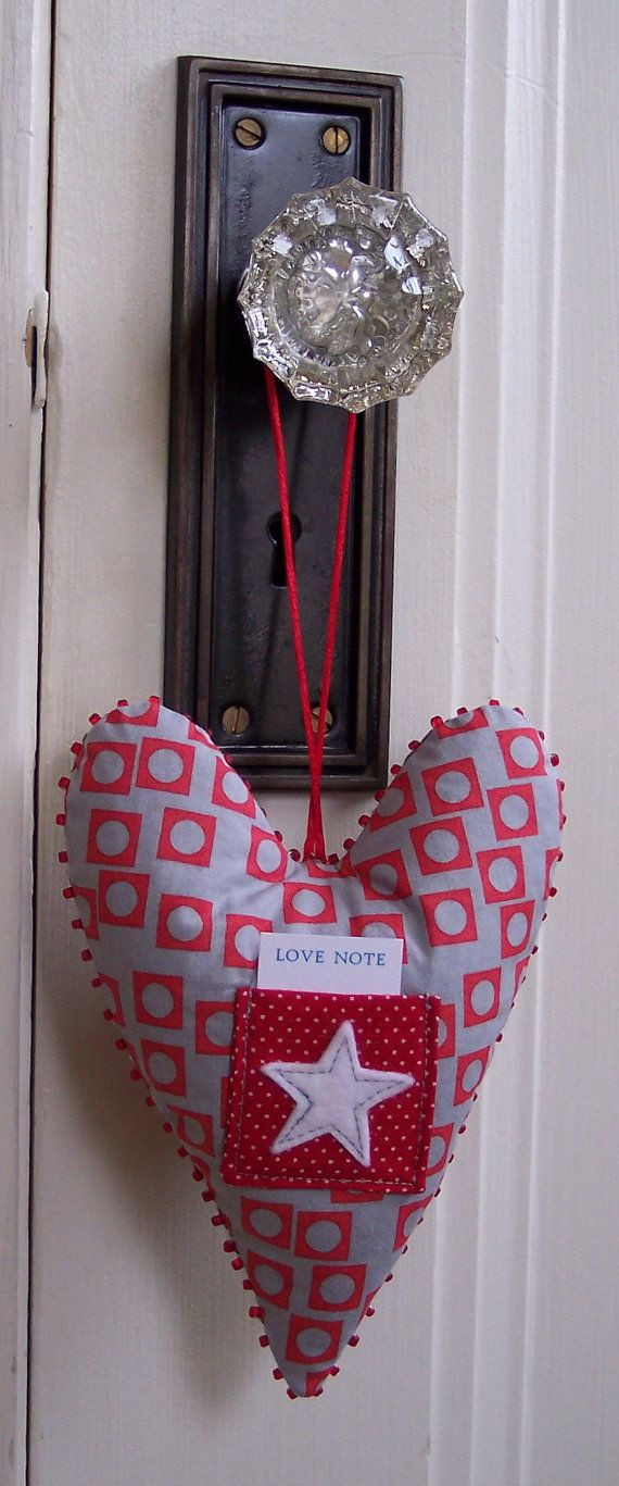 red and grey hanging heart