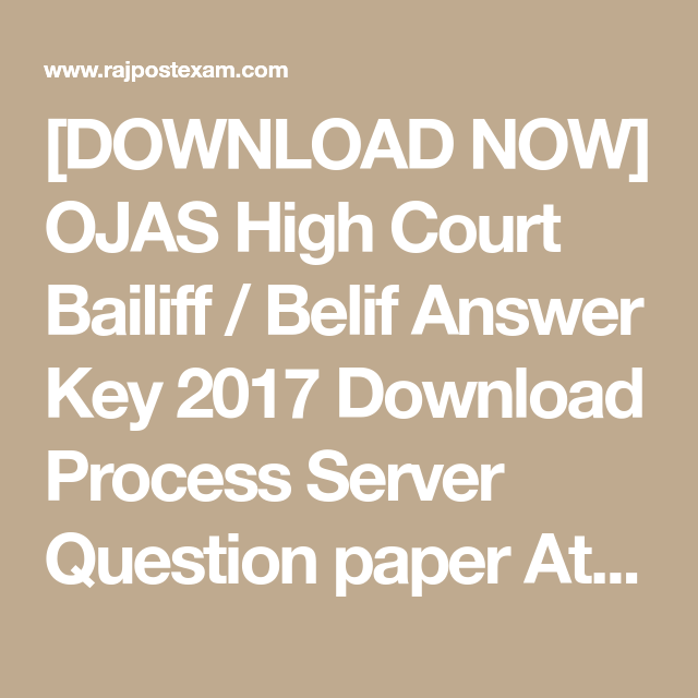 DOWNLOAD NOW] OJAS High Court Bailiff / Belif Answer Key