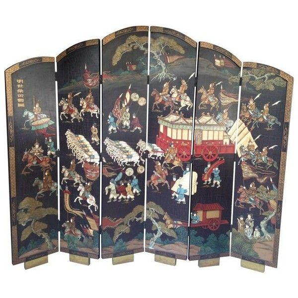 Oriental Room Divider (€760) ❤ liked on Polyvore featuring home, home decor, panel screens, screens, gold home accessories, asian inspired home decor, gold home decor, oriental screens and asian room dividers