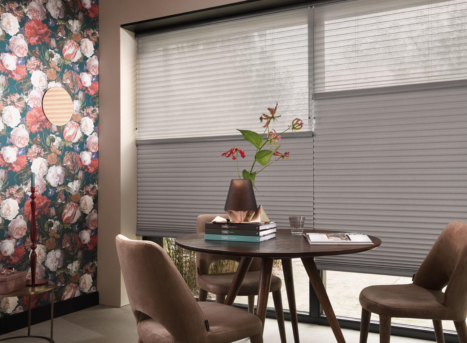 Duette energy saving blinds contemporary silver grey colour