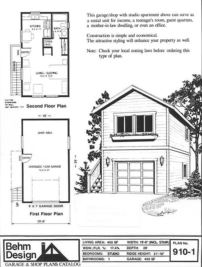 Loft Area Is Fully Useable On This 16 X 28 Garage Apartment Garage Apartment Floor Plans Two Story Garage Garage Apartment Plans