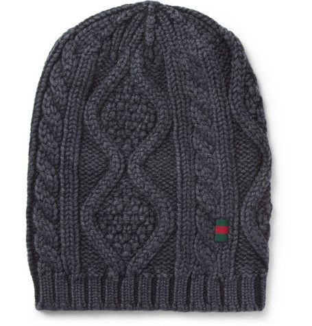 70bcafe1782 Gucci Cable Knit Wool Beanie Hat