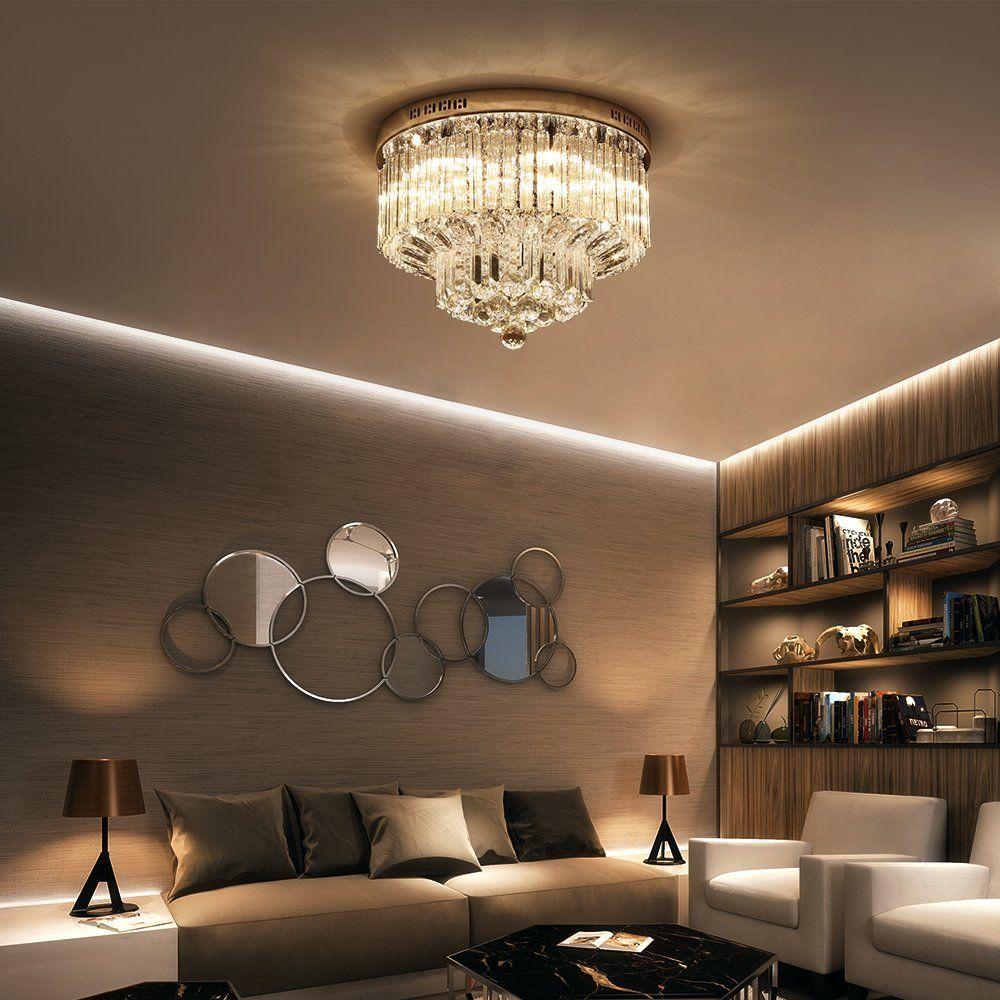 Saint Mossi Chandelier Modern K9 Crystal Raindrop Lighting Flush Mount Led Ceiling Light Fixture Pendant