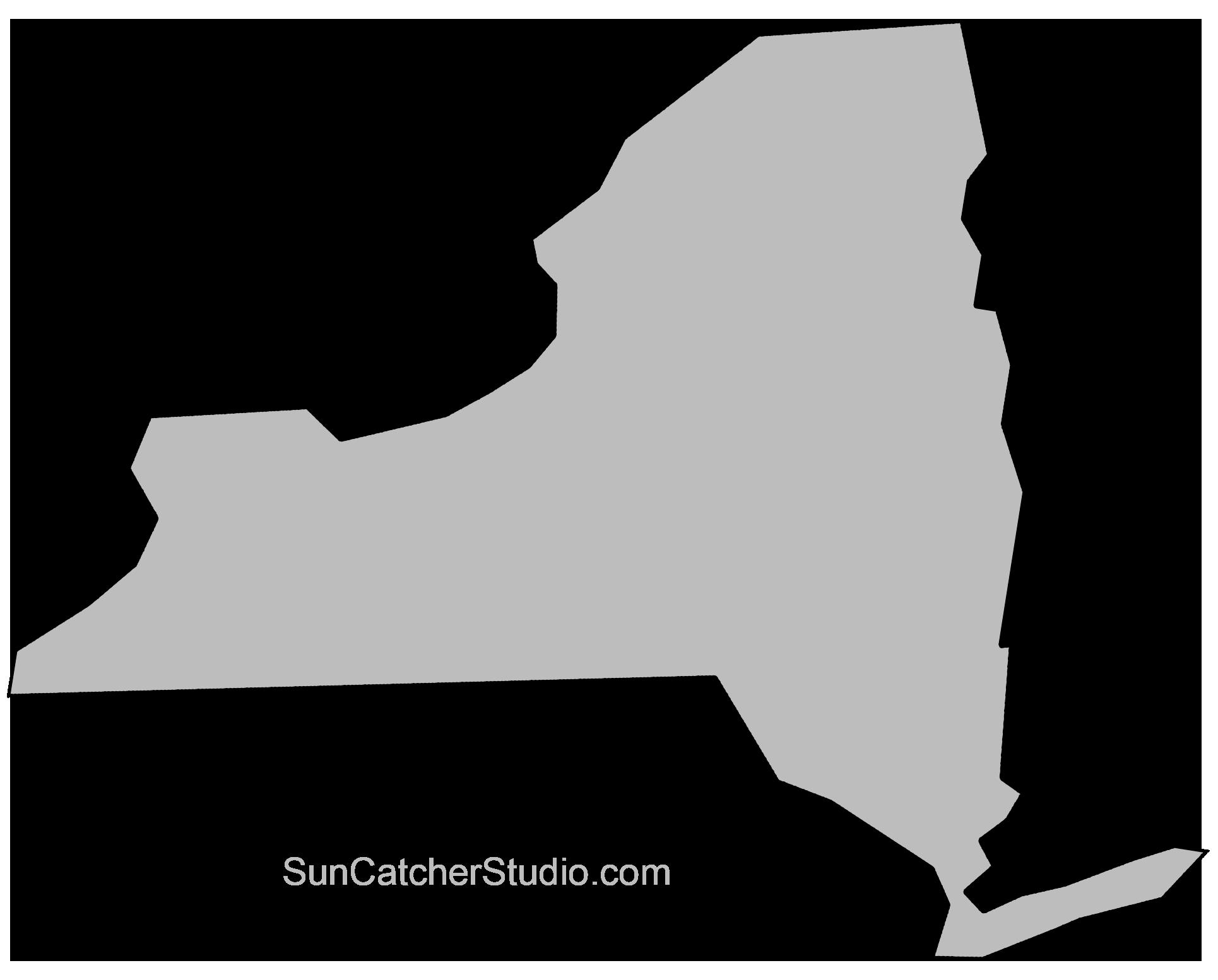 New York Map Outline Printable State Shape Stencil Pattern Map Of New York York Map State Outline