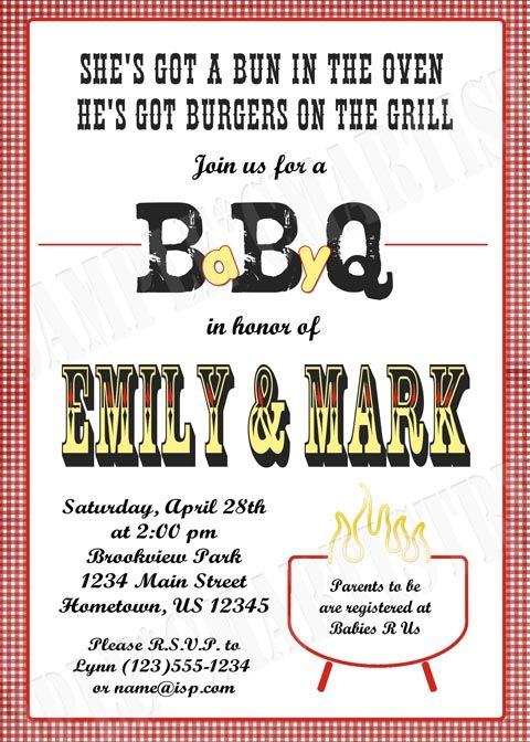personalized bbq baby q shower invitations | baby shower- a lil, Baby shower invitations