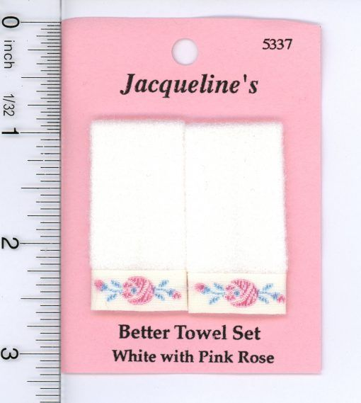 *SALE* Dollhouse Miniature 1:12 Two Pink Hand Towels w//White Trim in Floral D...