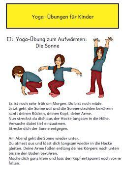 Bild- und Textmaterial für erste einfache Yogaübungen. Im Material enthalten ist auch ein Leporello für die Kinder, in dem die Übungen noch einmal visualisiert wurden.Das Bildmaterial stammt von Frau