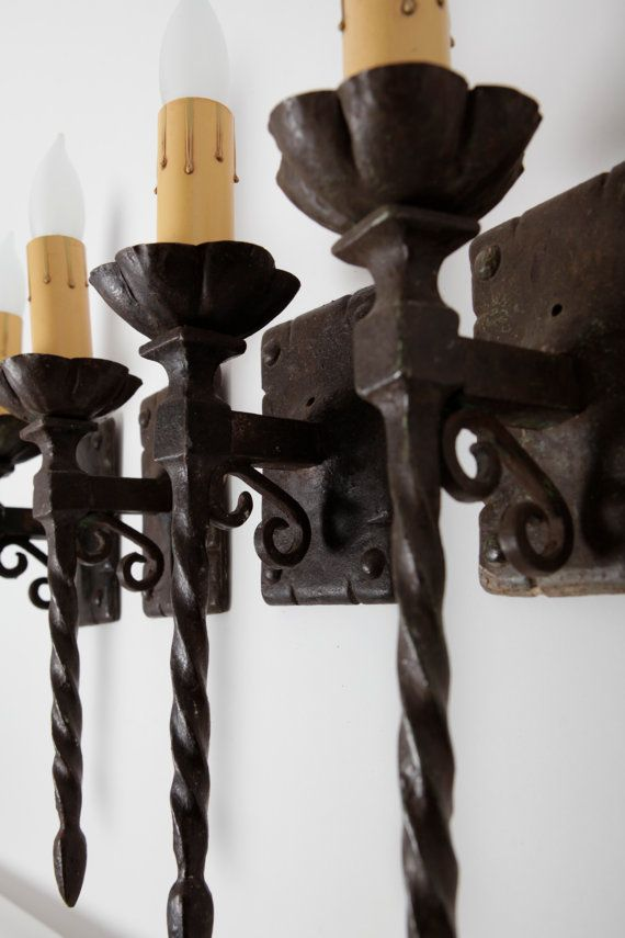 Pair Of Spanish Revival Turned Wrought Iron And Cast Iron Single