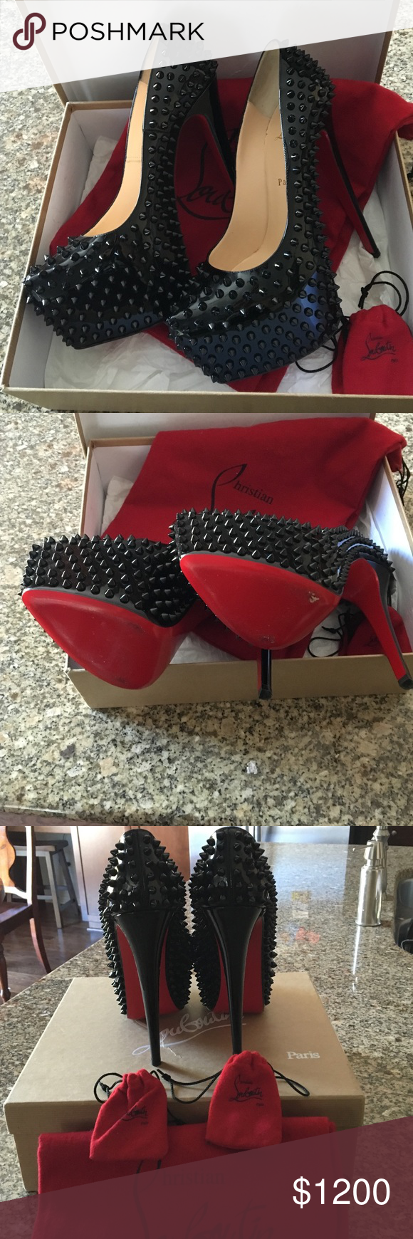 Christian Louboutin Daffodil spiked heels Authentic Beautiful black spiked patent leather daffodil 160 mm heels, like new, includes box, dust bags, extra heel taps and extra spikes. Please make sure you know your size in Louboutin heels as they run small. No trades Christian Louboutin Shoes Heels