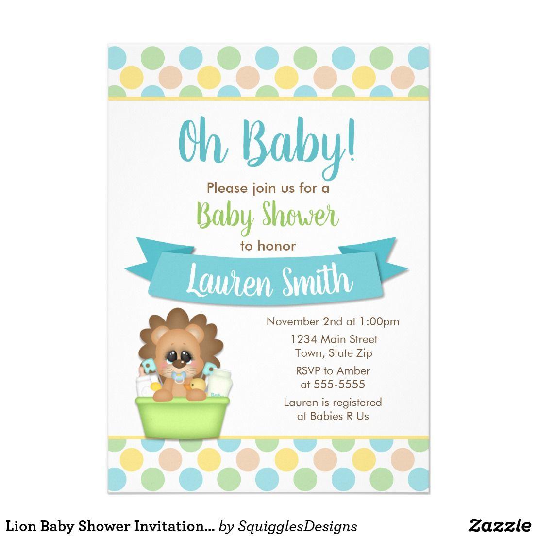 Lion Baby Shower Invitation Blue Baby Boy Lion | Lion baby shower ...