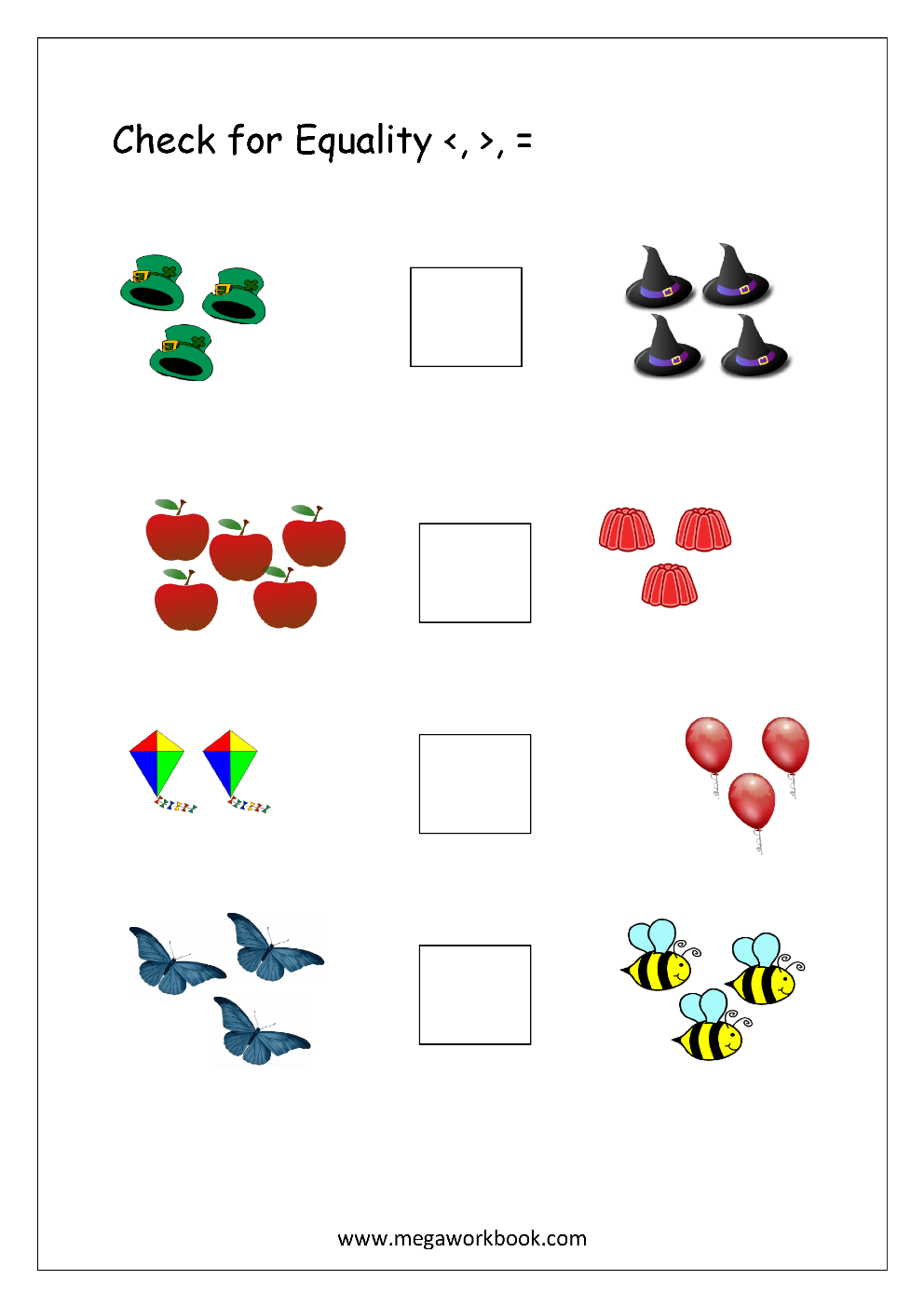 More or Less Worksheets - Comparing Numbers (1-5, 1-10 ...