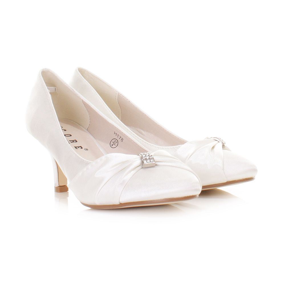 Womens low kitten heel bridal wedding white satin diamante court ...