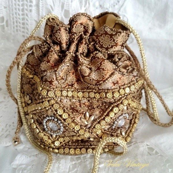 Bolso Limosnera Con Pedreria Fiesta Boda Ceremonia Vintage Potli Bags Clutch Handbag Bags