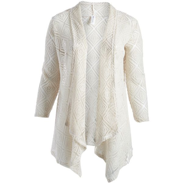 Hot Ginger Ivory Open Cardigan (32 PEN) ❤ liked on Polyvore featuring plus size women's fashion, plus size clothing, plus size tops, plus size cardigans, plus size, plus size lightweight cardigan, womens plus size tops, ivory lace top, lace top and lightweight cardigan