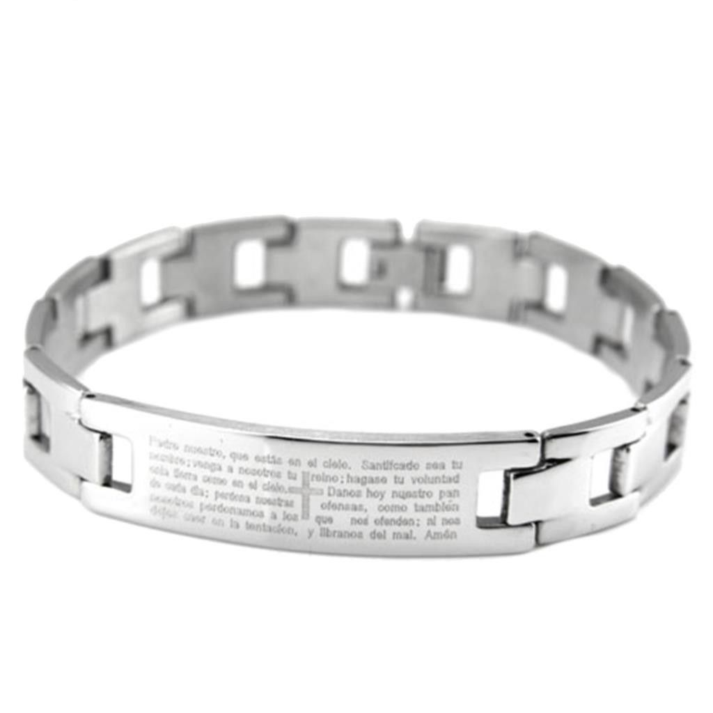 Silver u black color bracelet titanium steel cross bible bracelets
