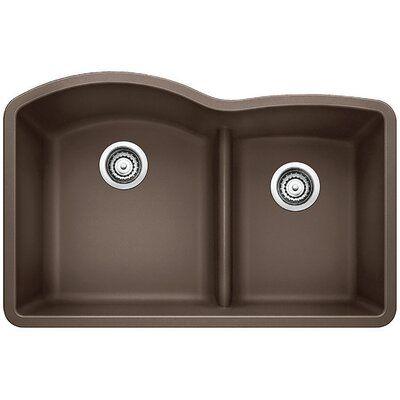 Blanco Diamond 32 L X 21 W Double Basin Undermount Kitchen Sink Double Bowl Kitchen Sink Sink Silgranit Sink