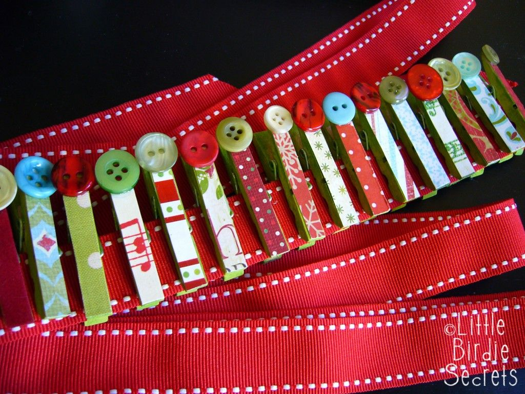 Christmas Card Garland Tutorial   Make And Takes Paint Clothes Pins, Glue  Pretty Papers U0026 Buttons U0026 Add Onto A Ribbon For A Lovely Card Display  Garland