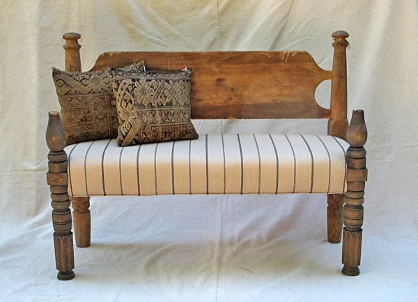 Vintage Upholstered Rustic Bench I can make this from my
